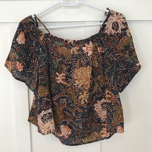 Madewell Silk Cold-Shoulder Blouse in Sea Floral
